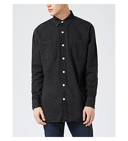 TOPMAN Gorky classic-fit denim shirt (Black