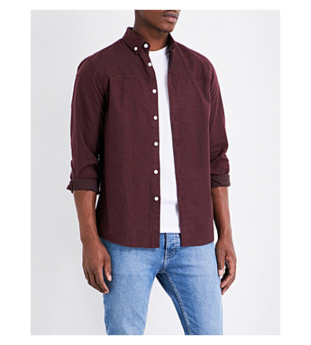 TOPMAN Herringbone-print cotton shirt (Burgundy