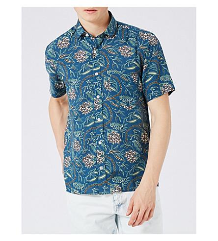 TOPMAN African floral-print poplin shirt (Blue