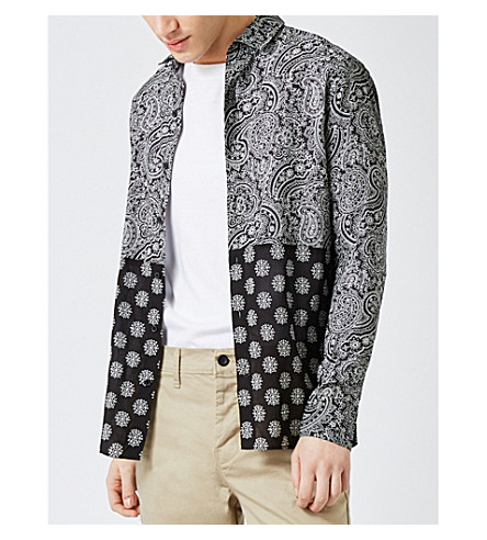 TOPMAN Classic-fit paisley-print cotton shirt (Black