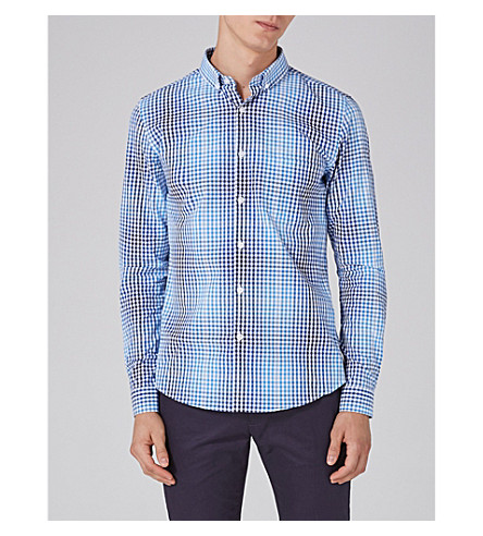 TOPMAN Slim-fit ombré gingham cotton-shirt (Multi