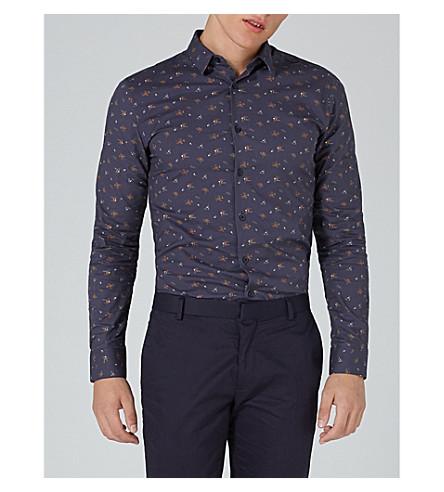 TOPMAN Floral-print stretch-cotton shirt