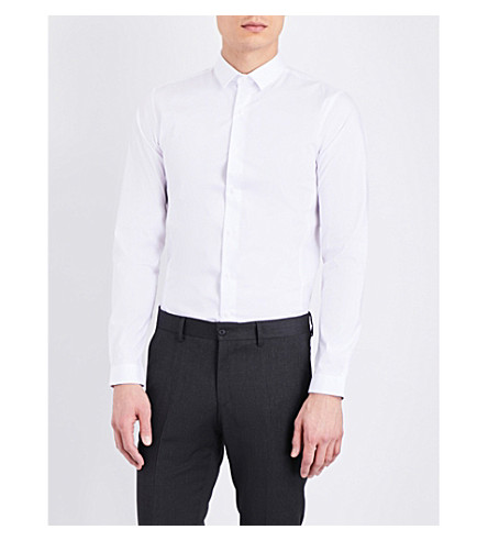 TOPMAN Stretch skinny-fit cotton-blend shirt (White