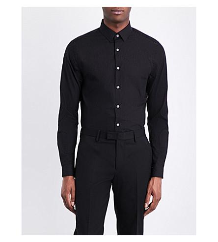 TOPMAN Leopard cotton-jacquard shirt (Black
