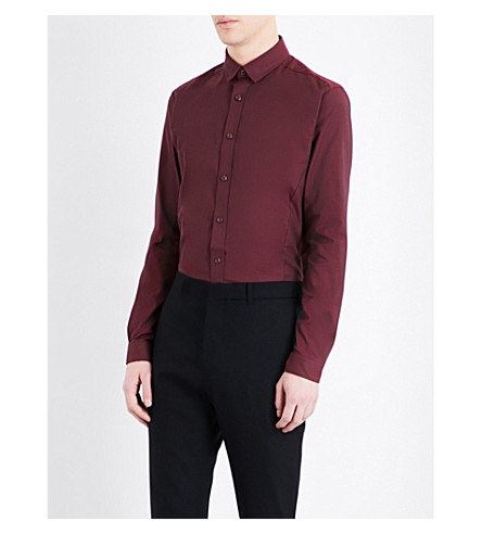 TOPMAN Stretch skinny-fit smart-cotton shirt (Burgundy