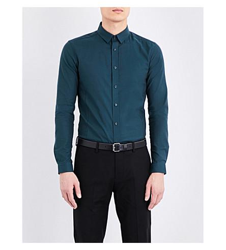 TOPMAN Stretch skinny-fit cotton-blend shirt (Dark+green