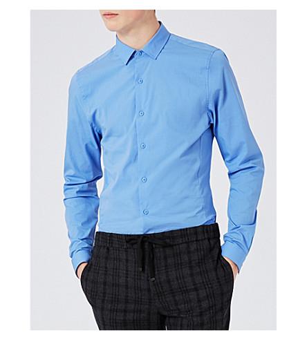 TOPMAN Muscle-fit stretch-cotton shirt (Blue