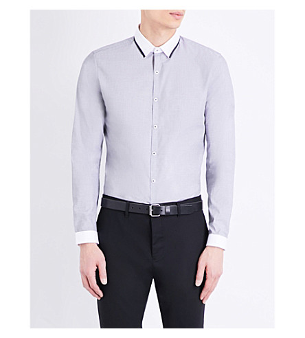 TOPMAN Collar-trim slim-fit chambray shirt