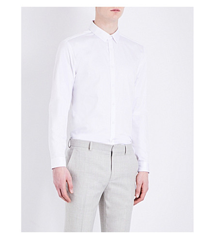 TOPMAN Premium Long-Sleeve Cotton Shirt (White