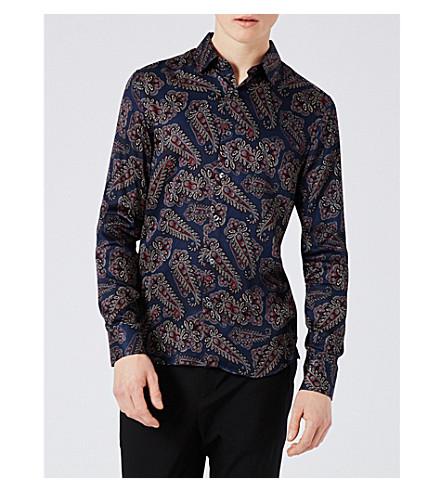 TOPMAN Paisley-print slim-fit poplin shirt