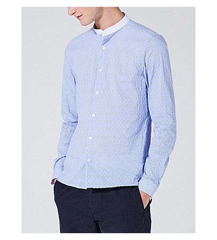 TOPMAN Slim-fit dobby stripe cotton-blend shirt (Blue