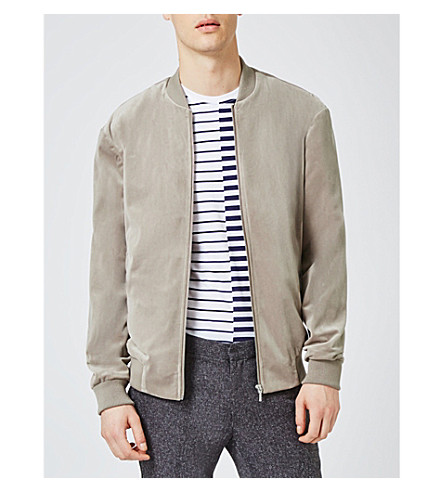 TOPMAN Zip-up velvet bomber jacket (Grey