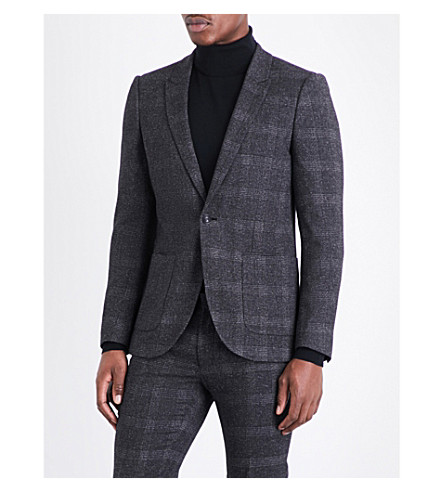 TOPMAN Olympus check skinny-fit woven jacket (Mid+grey