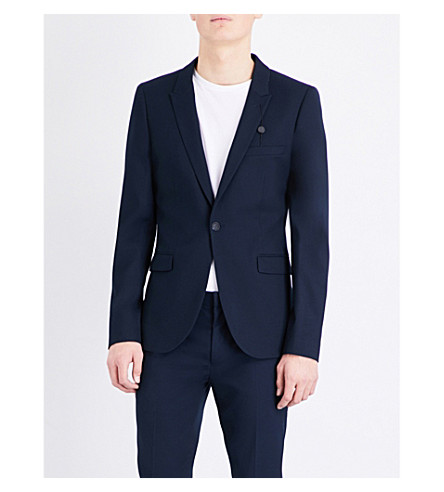 TOPMAN Textured ultra skinny-fit suit jacket (Dark+blue