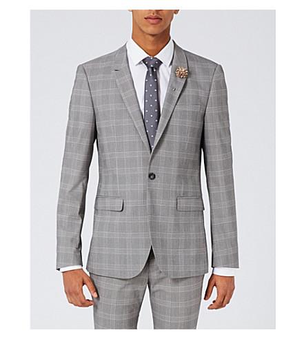 TOPMAN Usk ultra-skinny check woven jacket (Black