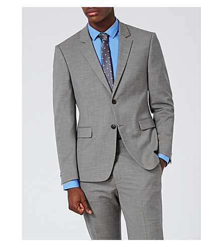 TOPMAN Muscle-fit woven suit jacket (Mid+grey