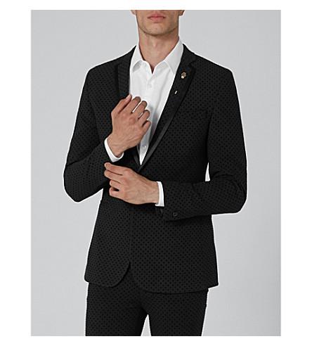 TOPMAN Polka dot ultra-skinny-fit woven blazer (Black
