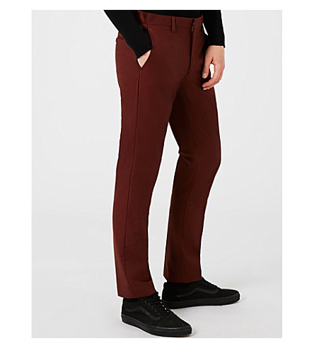 TOPMAN Skinny slim-fit woven trousers (Burgundy