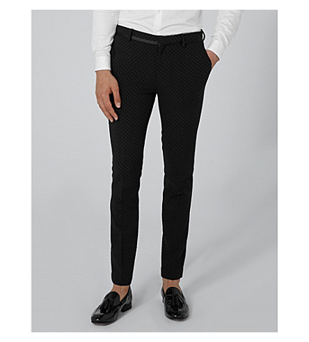 TOPMAN Ultra slim-fit skinny jacquard trousers (Black