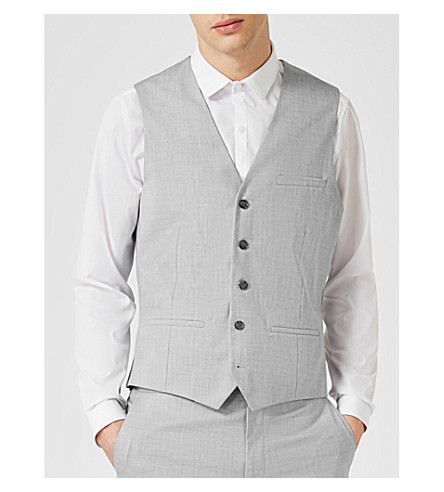 TOPMAN Wyatt slim-fit woven vest (Light+blue