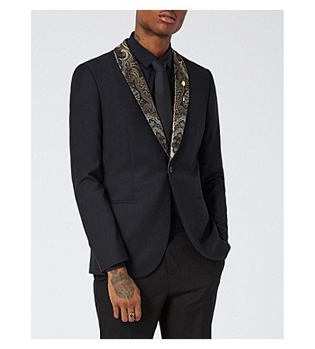 TOPMAN Paisley pattern-lapel stretch-wool blazer (Black