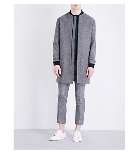 TOPMAN Textured wool-blend bomber coat (Dark+grey