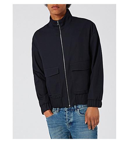 TOPMAN Zip-up woven jacket (Dark+blue