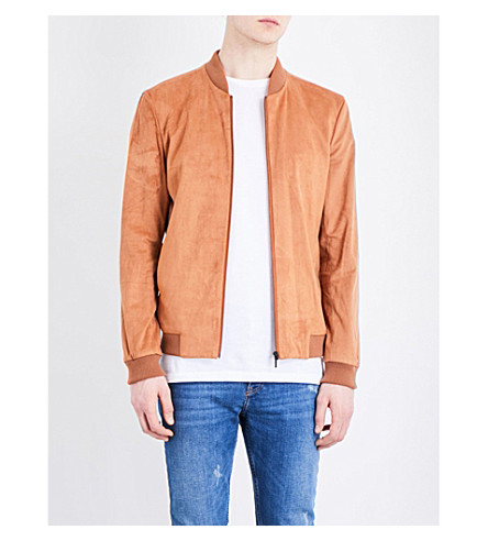TOPMAN Faux-suede bomber jacket (Light+brown