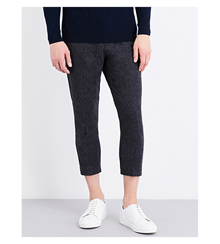 TOPMAN Skinny-fit tapered track pants (Dark+grey