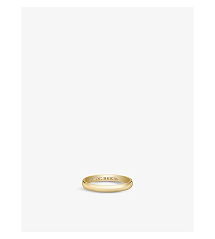 DE BEERS Wide Court yellow-gold and diamond wedding band