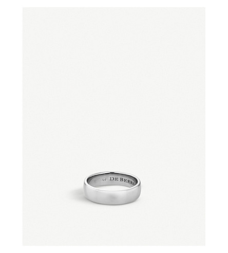 DE BEERS Wide Court platinum and diamond wedding band