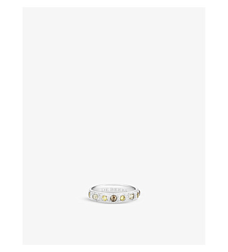 DE BEERS Talisman 18ct white-gold and diamond half-pavé band ring