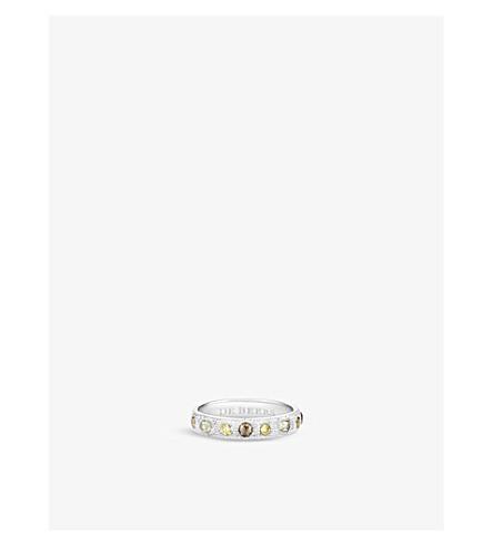 DE BEERS 护身符18ct 白金和钻石 half-pavé带环