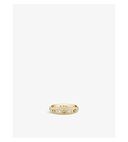 DE BEERS 护身符18ct 黄金金刚石半铺带环