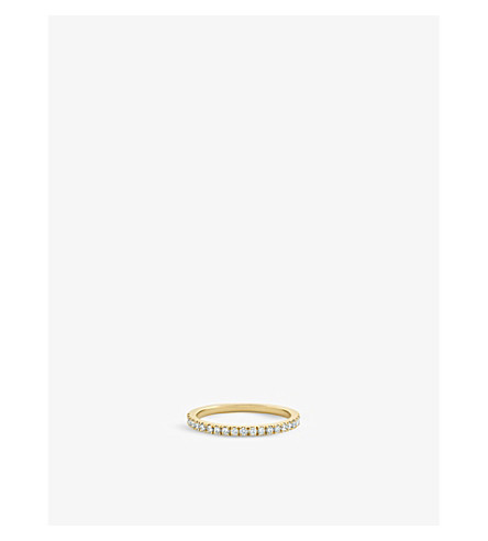 DE BEERS Classic half band yellow gold and diamond eternity ring