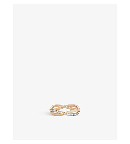 DE BEERS Infinity pink-gold and pavé diamond ring