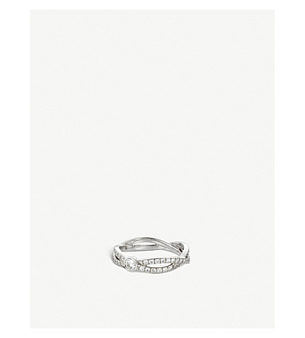 DE BEERS Infinity white-gold and solitaire diamond ring