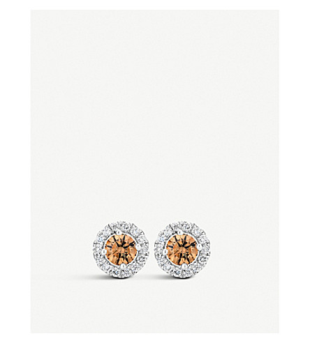 DE BEERS Aura Fancy coloured diamond stud earrings