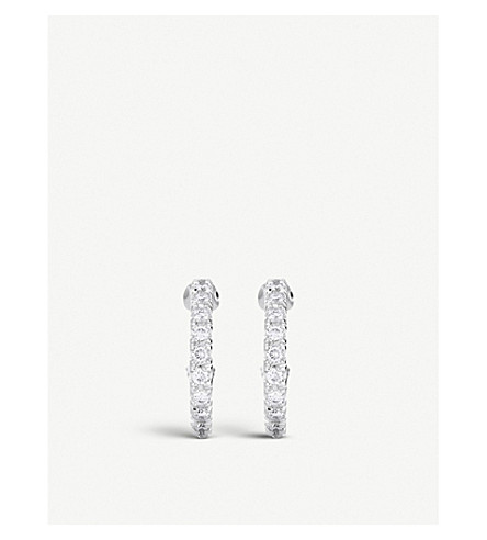 DE BEERS 微密钉18ct 白金和金刚石耳环