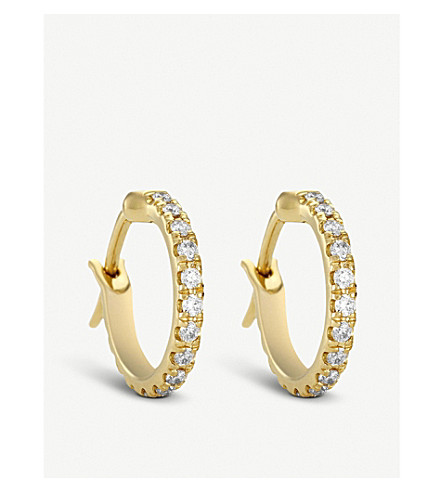 DE BEERS Micropavé 18ct yellow-gold and diamond earrings