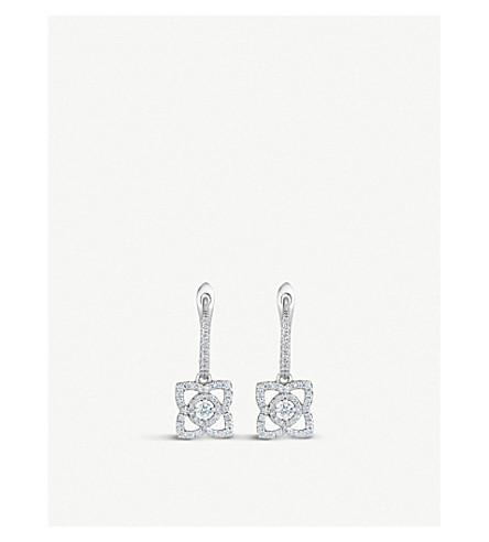 DE BEERS 魔法莲花18ct 白金钻石耳环