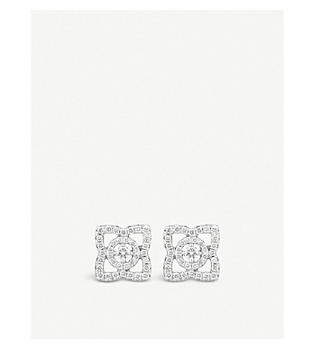 DE BEERS Enchanted Lotus 18ct white-gold and diamond earrings