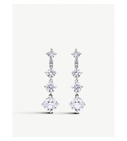 DE BEERS Arpeggia One-Line 18ct white-gold and diamond drop earrings