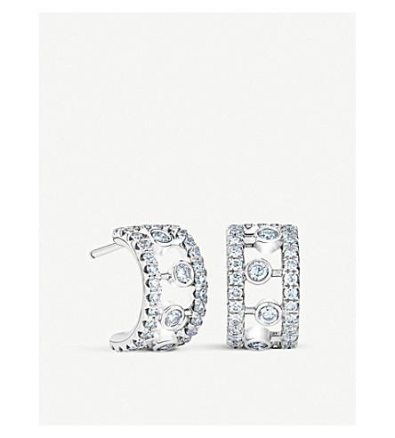 DE BEERS 露珠18ct 白金金刚石耳环