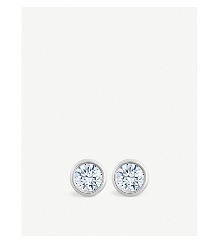 DE BEERS Dewdrop 18ct white-gold and diamond stud earrings