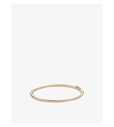 DE BEERS Micropavé 18ct pink-gold and diamond bangle