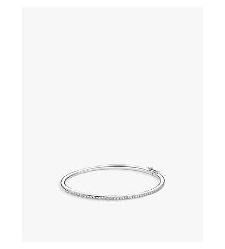 DE BEERS Micropavé 18ct white-gold and diamond bangle