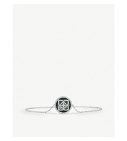 DE BEERS Enchanted Lotus 18ct white-gold, diamond and grey mother-of-pearl bracelet