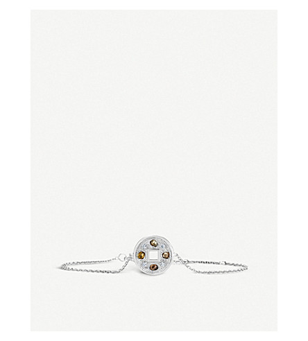 DE BEERS Talisman Lucky Coin 18ct white-gold and diamond bracelet