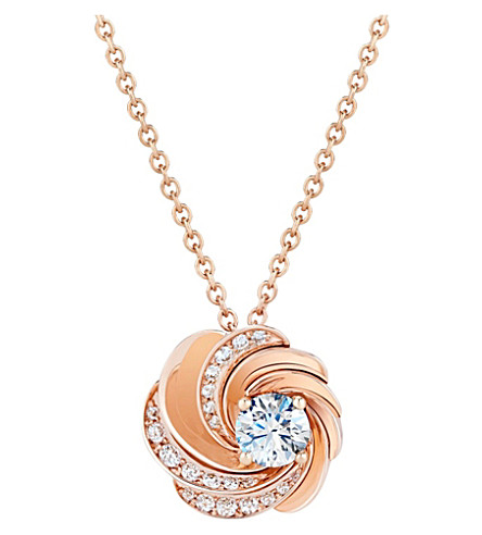 DE BEERS Aria pink-gold and diamond pendant